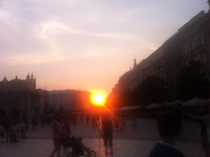 sunset in Krakow